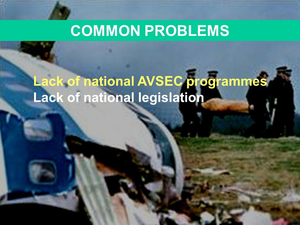 COMMON PROBLEMS Lack of national AVSEC programmes Lack of national legislation
