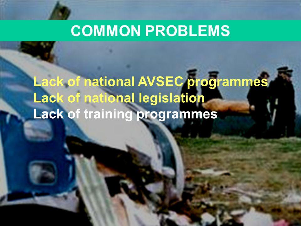 COMMON PROBLEMS Lack of national AVSEC programmes Lack of national legislation Lack of training programmes