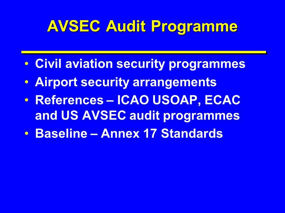 AVSEC Audit Programme Civil aviation security programmes Airport security arrangements References – ICAO USOAP, ECAC and US AVSEC audit programmes Bas