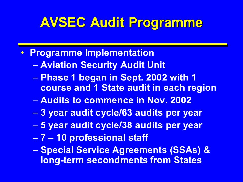 AVSEC Audit Programme Programme Implementation –Aviation Security Audit Unit –Phase 1 began in Sept. 2002 with 1 course and 1 State audit in each regi