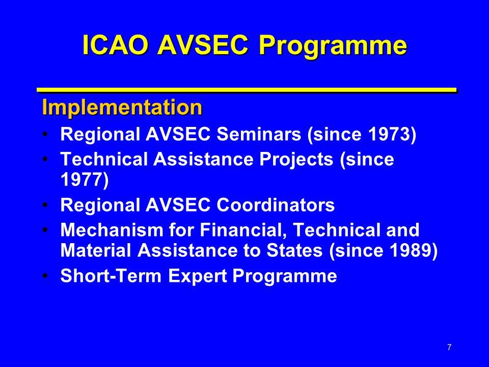 7 ICAO AVSEC Programme Implementation Regional AVSEC Seminars (since 1973) Technical Assistance Projects (since 1977) Regional AVSEC Coordinators Mech