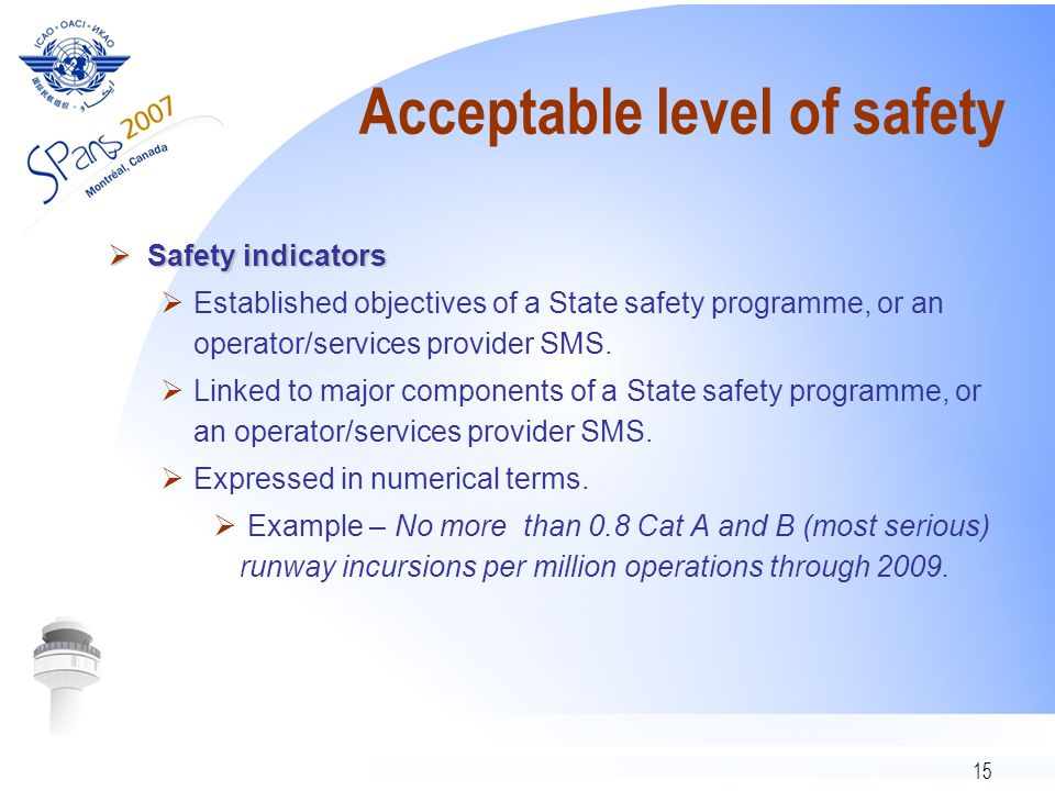15 Acceptable level of safety  Safety indicators  Established objectives of a State safety programme, or an operator/services provider SMS.