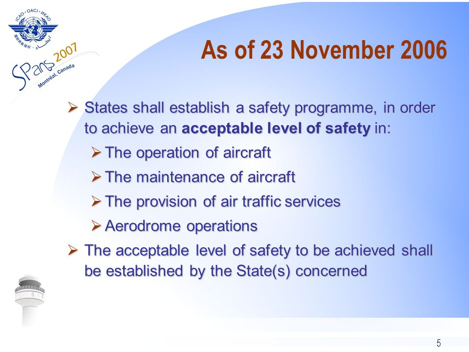 5 As of 23 November 2006  States shall establish a safety programme, in order to achieve an acceptable level of safety in:  The operation of aircraft  The maintenance of aircraft  The provision of air traffic services  Aerodrome operations  The acceptable level of safety to be achieved shall be established by the State(s) concerned
