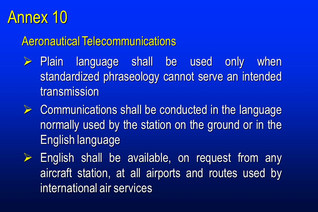 Annex 10  Plain language shall be used only when standardized phraseology cannot serve an intended transmission  Communications shall be conducted in the language normally used by the station on the ground or in the English language  English shall be available, on request from any aircraft station, at all airports and routes used by international air services Aeronautical Telecommunications