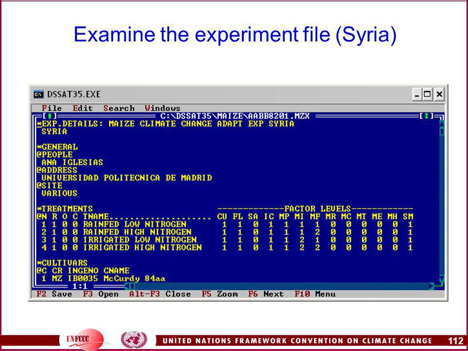 112 Examine the experiment file (Syria)