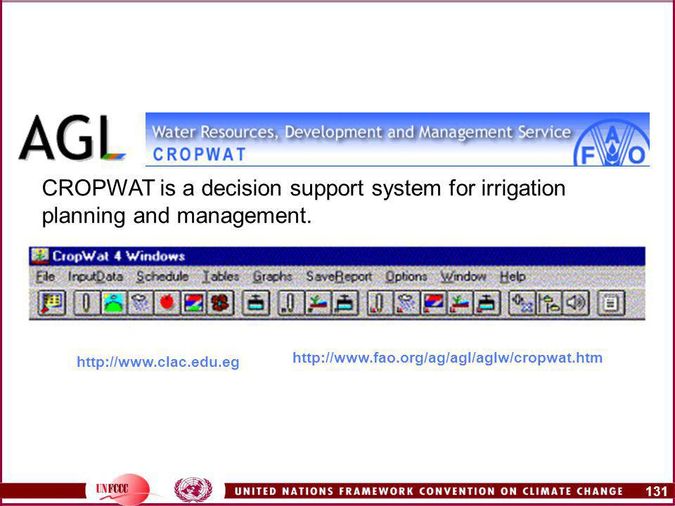131   CROPWAT is a decision support system for irrigation planning and management.