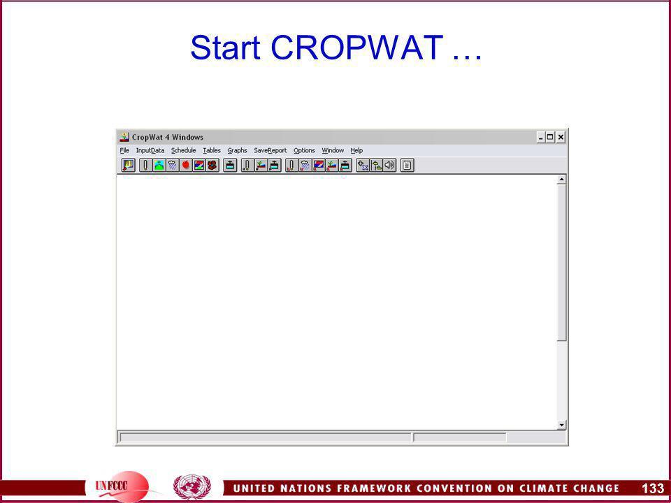 133 Start CROPWAT …