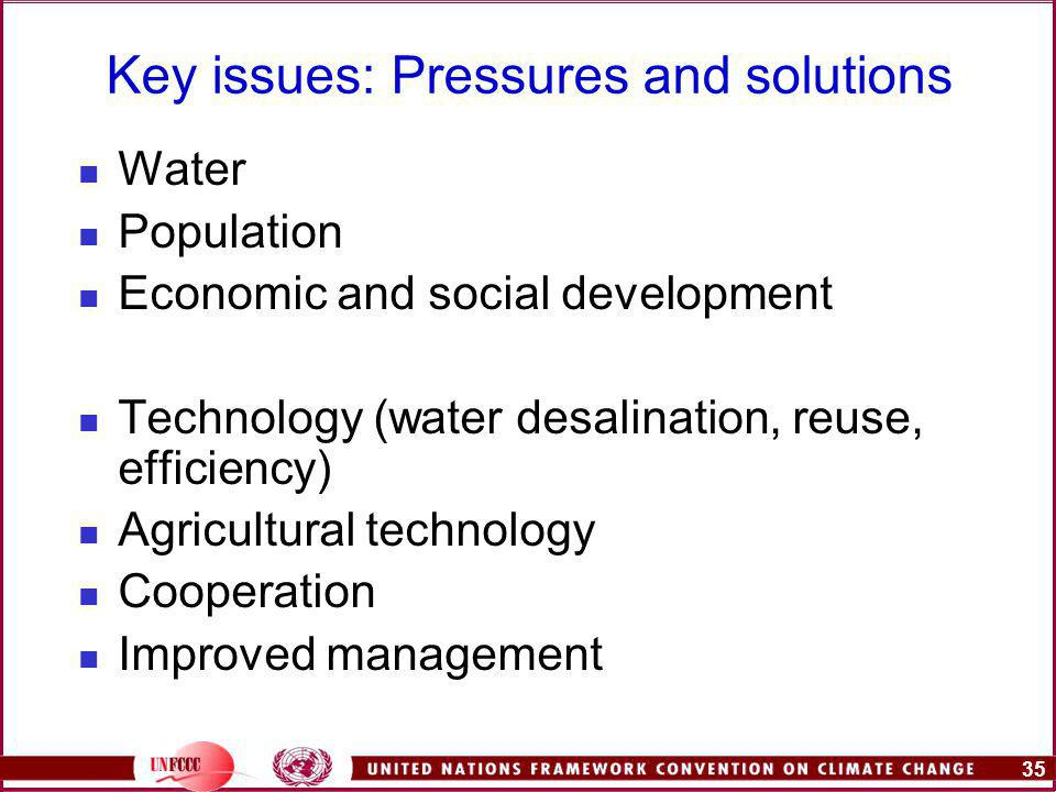 35 Key issues: Pressures and solutions Water Population Economic and social development Technology (water desalination, reuse, efficiency) Agricultural technology Cooperation Improved management