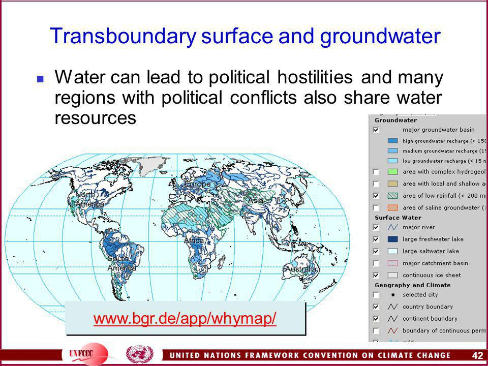 42   Water can lead to political hostilities and many regions with political conflicts also share water resources Transboundary surface and groundwater