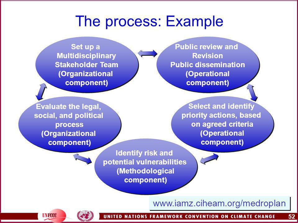52 The process: Example Set up a Multidisciplinary Stakeholder Team (Organizational component) Set up a Multidisciplinary Stakeholder Team (Organizational component) Evaluate the legal, social, and political process (Organizational component) Evaluate the legal, social, and political process (Organizational component) Identify risk and potential vulnerabilities (Methodological component) Identify risk and potential vulnerabilities (Methodological component) Select and identify priority actions, based on agreed criteria (Operational component) Select and identify priority actions, based on agreed criteria (Operational component) Public review and Revision Public dissemination (Operational component) Public review and Revision Public dissemination (Operational component)