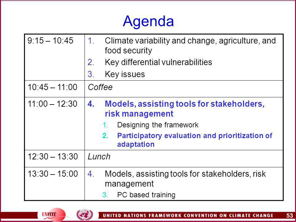 53 Agenda 9:15 – 10:451.Climate variability and change, agriculture, and food security 2.Key differential vulnerabilities 3.Key issues 10:45 – 11:00Coffee 11:00 – 12:304.Models, assisting tools for stakeholders, risk management 1.Designing the framework 2.Participatory evaluation and prioritization of adaptation 12:30 – 13:30Lunch 13:30 – 15:004.Models, assisting tools for stakeholders, risk management 3.PC based training
