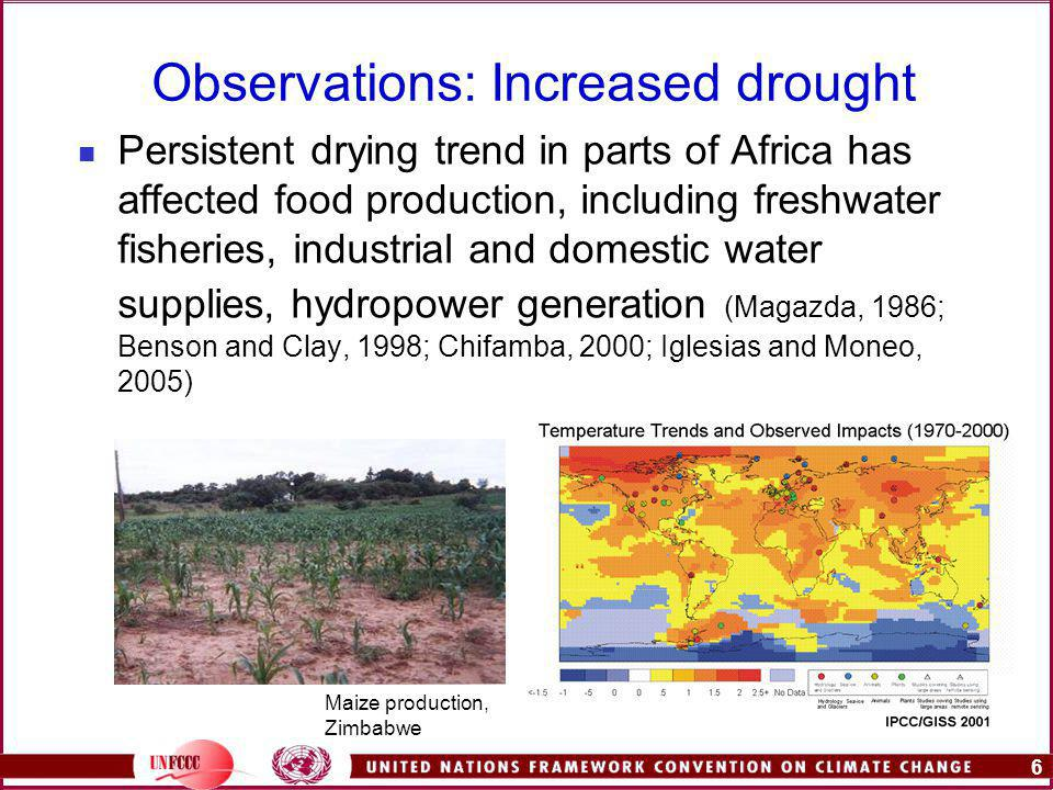 6 Observations: Increased drought Persistent drying trend in parts of Africa has affected food production, including freshwater fisheries, industrial and domestic water supplies, hydropower generation (Magazda, 1986; Benson and Clay, 1998; Chifamba, 2000; Iglesias and Moneo, 2005) Maize production, Zimbabwe