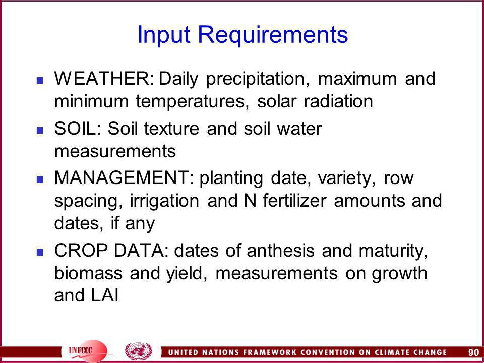 90 Input Requirements WEATHER: Daily precipitation, maximum and minimum temperatures, solar radiation SOIL: Soil texture and soil water measurements MANAGEMENT: planting date, variety, row spacing, irrigation and N fertilizer amounts and dates, if any CROP DATA: dates of anthesis and maturity, biomass and yield, measurements on growth and LAI