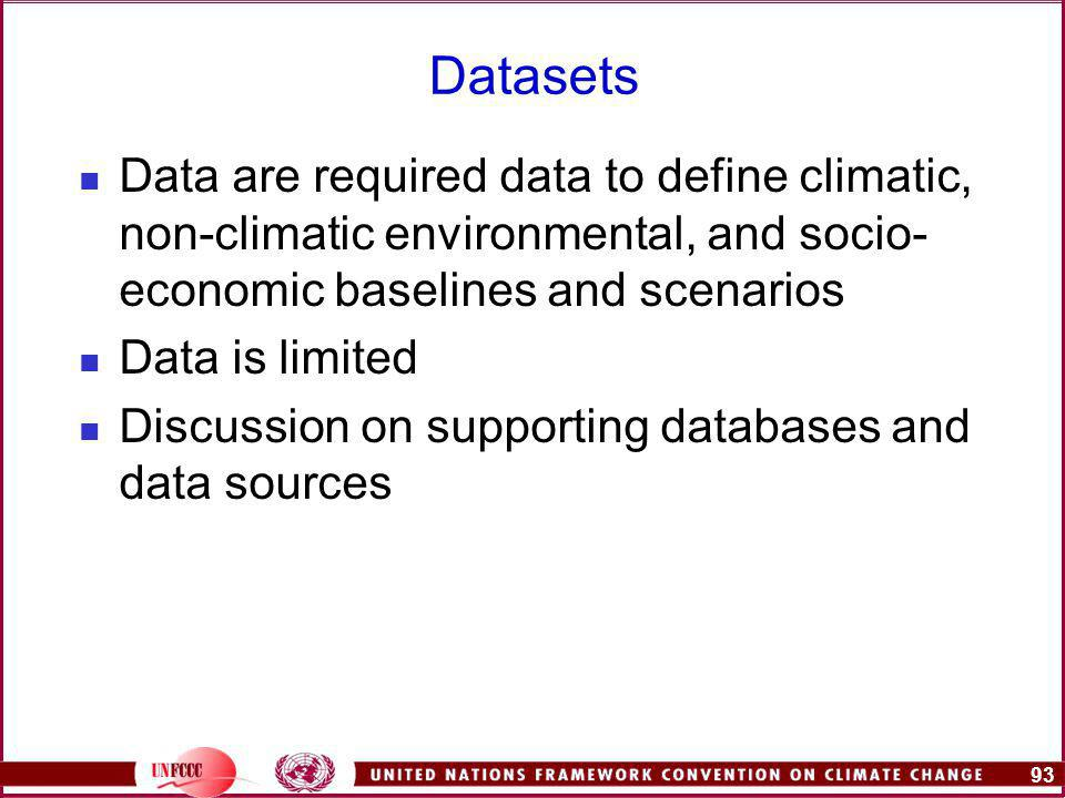 93 Datasets Data are required data to define climatic, non-climatic environmental, and socio- economic baselines and scenarios Data is limited Discussion on supporting databases and data sources