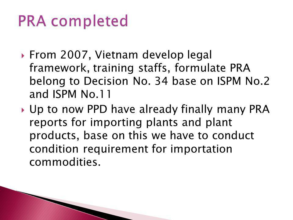  From 2007, Vietnam develop legal framework, training staffs, formulate PRA belong to Decision No.
