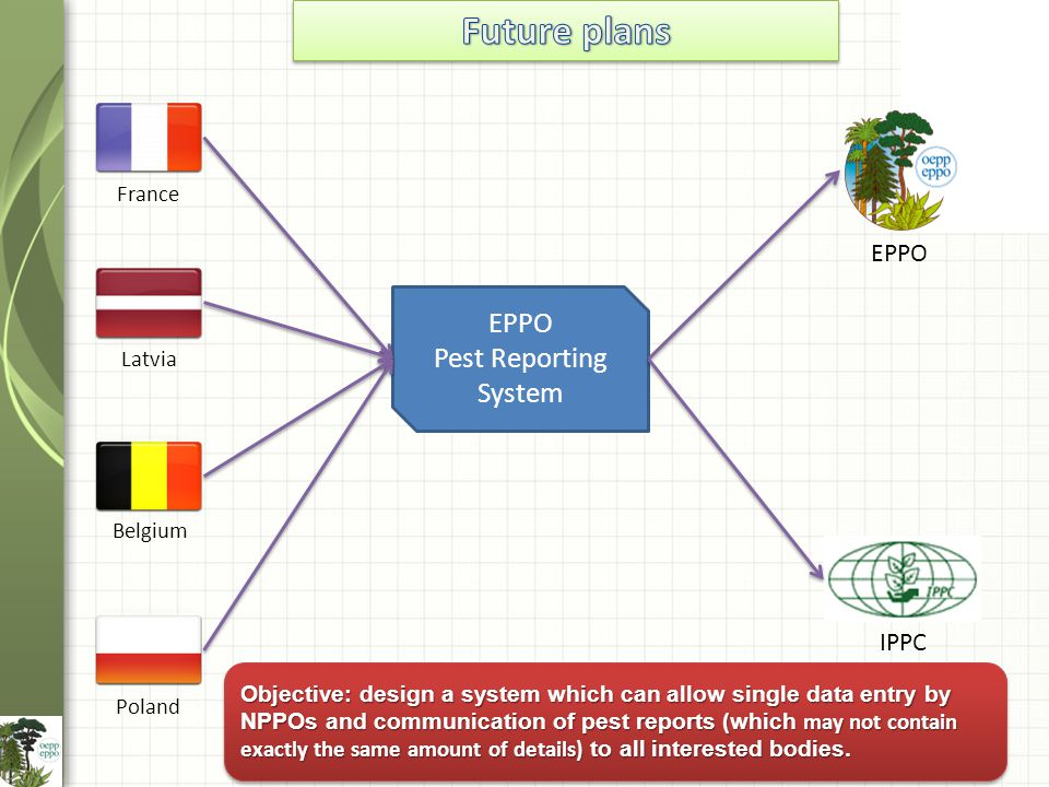 France Latvia Belgium Poland EPPO IPPC EPPO Pest Reporting System Objective: design a system which can allow single data entry by NPPOs and communication of pest reports (which may not contain exactly the same amount of details) to all interested bodies.