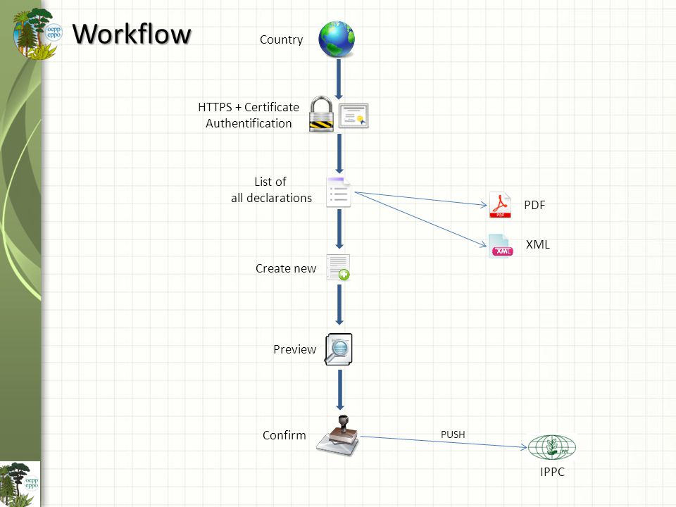Workflow Country HTTPS + Certificate Authentification List of all declarations Create new Preview XML PDF Confirm IPPC PUSH