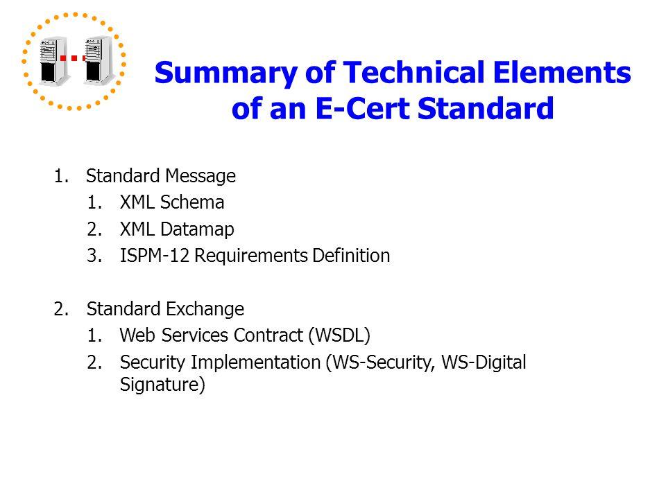 Summary of Technical Elements of an E-Cert Standard 1.