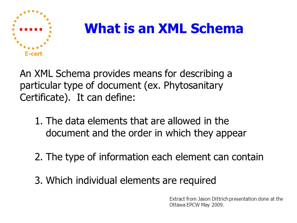 What is an XML Schema E-cert An XML Schema provides means for describing a particular type of document (ex.
