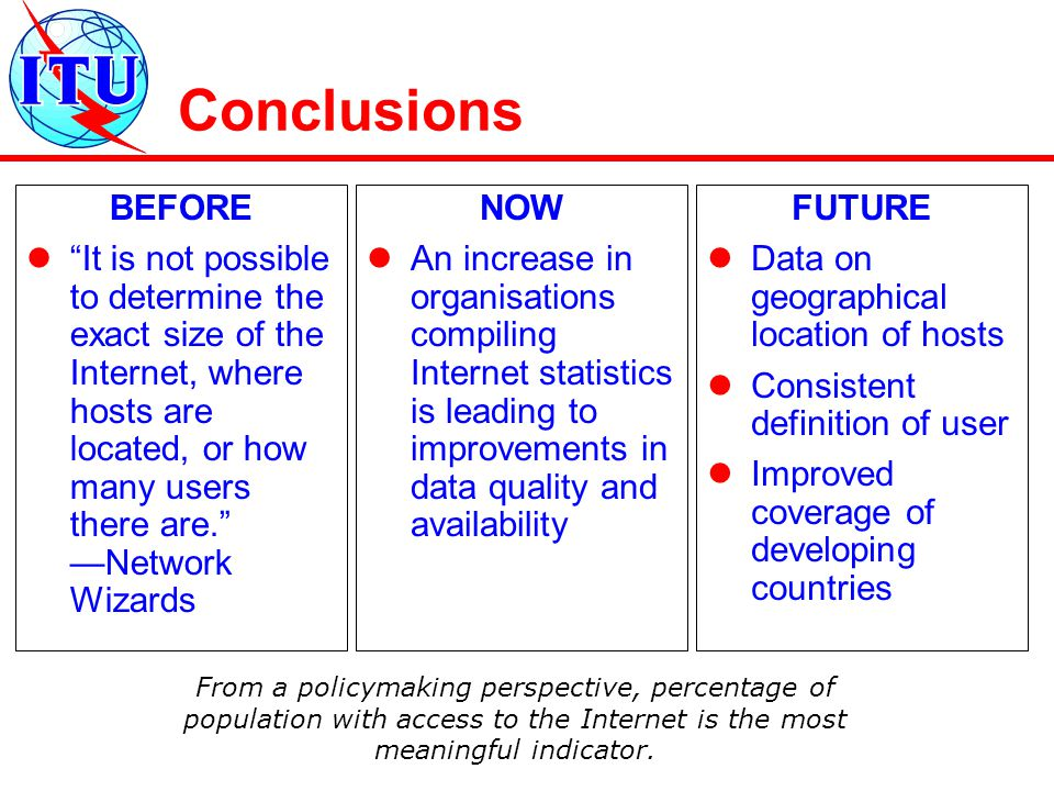 Conclusions BEFORE It is not possible to determine the exact size of the Internet, where hosts are located, or how many users there are. —Network Wizards NOW An increase in organisations compiling Internet statistics is leading to improvements in data quality and availability FUTURE Data on geographical location of hosts Consistent definition of user Improved coverage of developing countries From a policymaking perspective, percentage of population with access to the Internet is the most meaningful indicator.