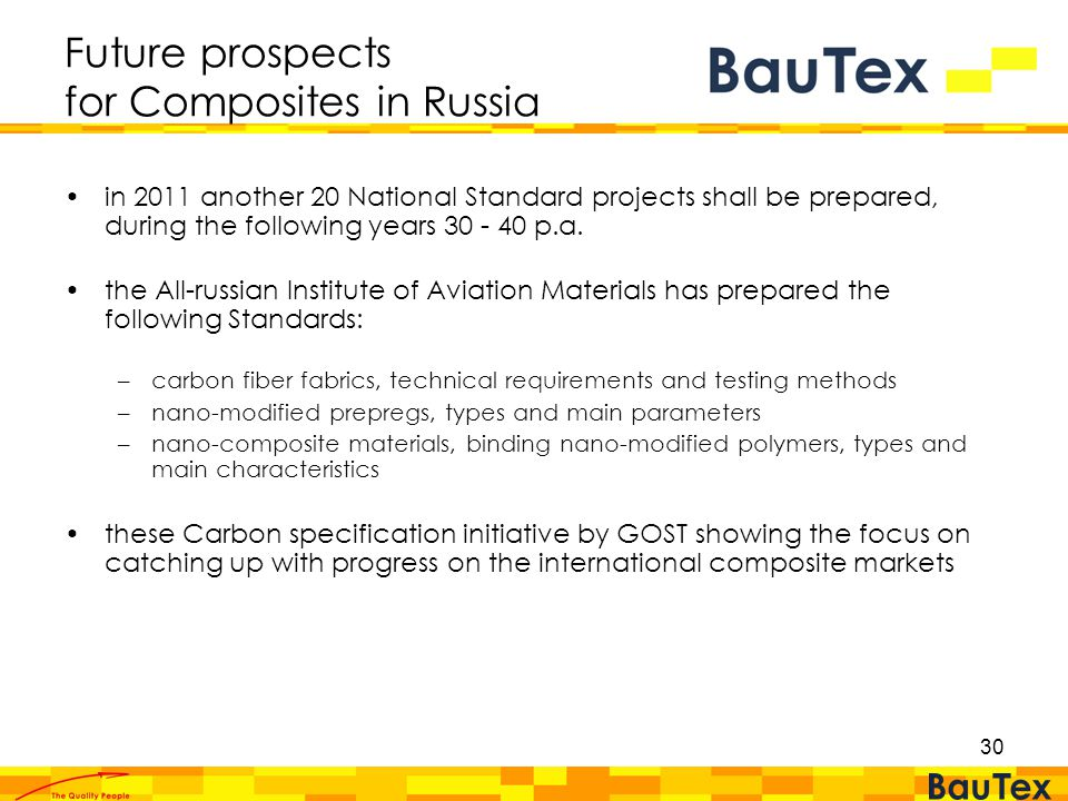 30 Future prospects for Composites in Russia in 2011 another 20 National Standard projects shall be prepared, during the following years 30 - 40 p.a.