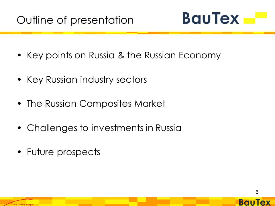 5 Outline of presentation Key points on Russia & the Russian Economy Key Russian industry sectors The Russian Composites Market Challenges to investments in Russia Future prospects
