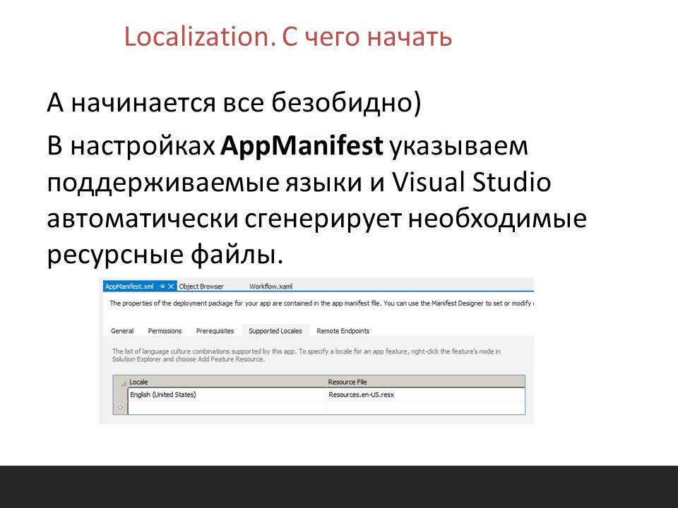 А начинается все безобидно) В настройках AppManifest указываем поддерживаемые языки и Visual Studio автоматически сгенерирует необходимые ресурсные файлы.