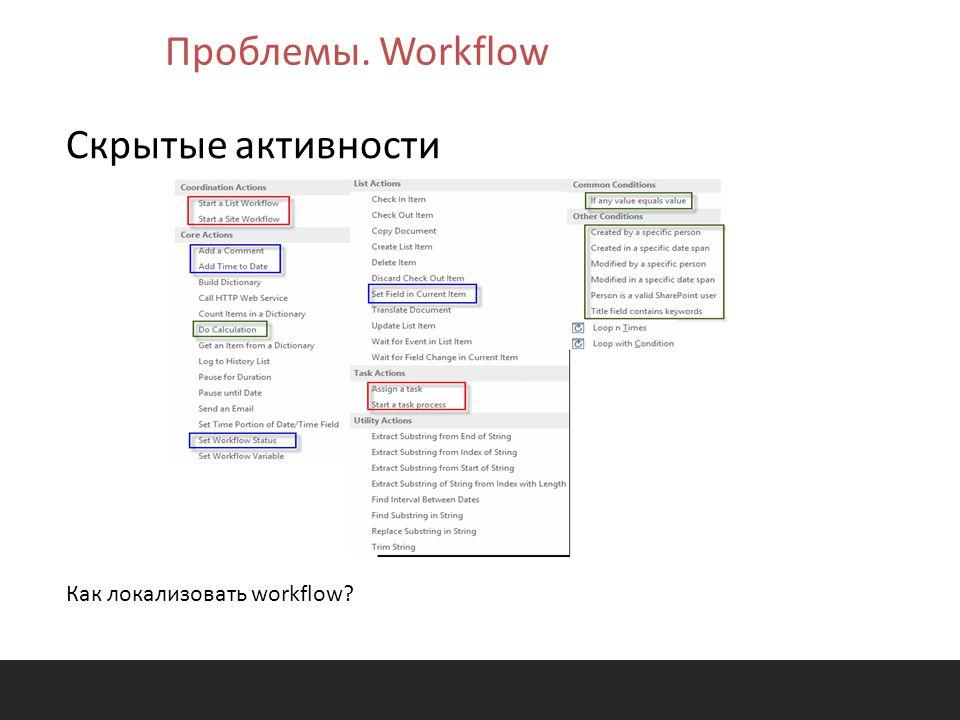 Скрытые активности Как локализовать workflow? Проблемы. Workflow
