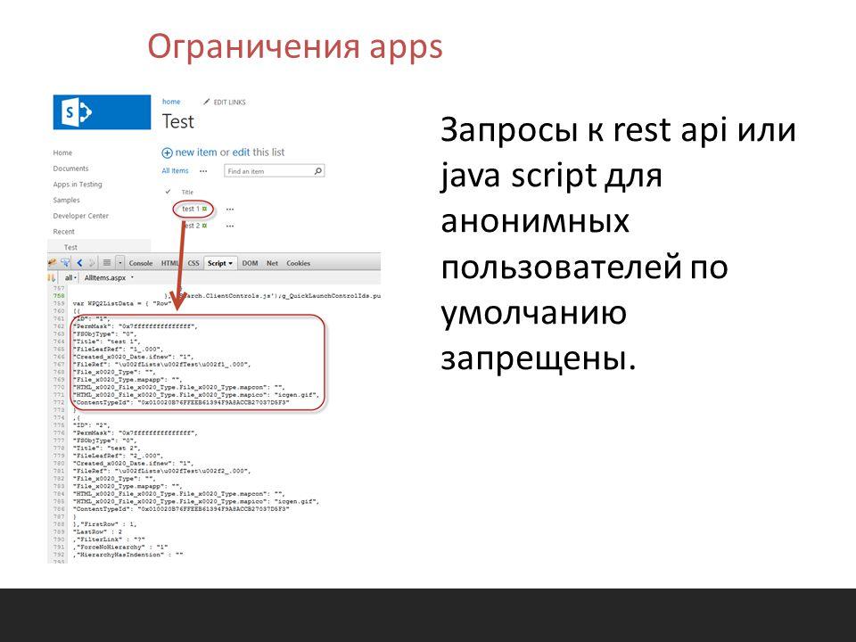 Запросы к rest api или java script для анонимных пользователей по умолчанию запрещены.