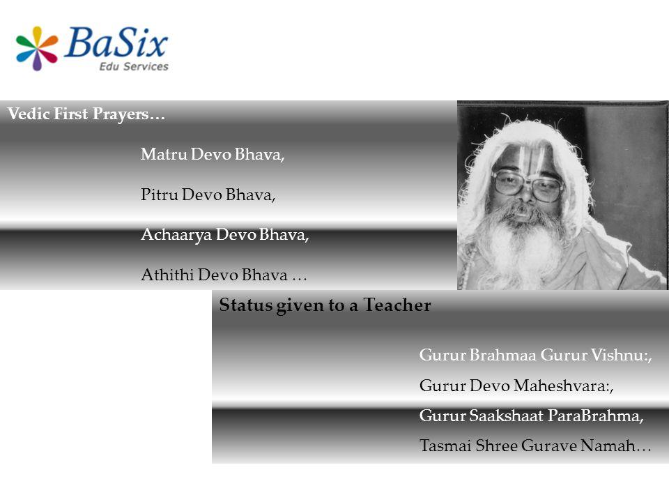 Vedic First Prayers… Matru Devo Bhava, Pitru Devo Bhava, Achaarya Devo Bhava, Athithi Devo Bhava … Status given to a Teacher Gurur Brahmaa Gurur Vishn