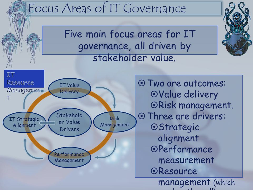 Focus Areas of IT Governance Five main focus areas for IT governance, all driven by stakeholder value.  Two are outcomes:  Value delivery  Risk man