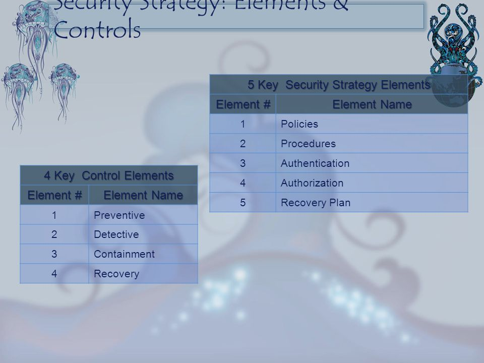 5 Key Security Strategy Elements Element # Element Name 1Policies 2Procedures 3Authentication 4Authorization 5Recovery Plan 4 Key Control Elements Ele