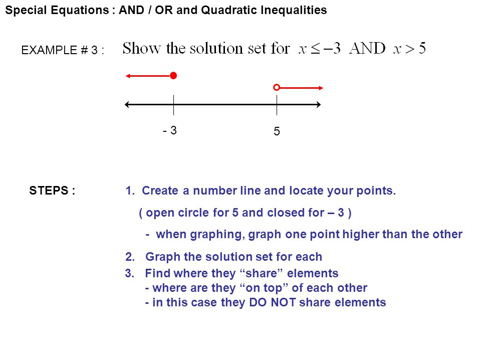 Special Equations : AND / OR and Quadratic Inequalities EXAMPLE # 3 : STEPS :1. Create a number line and locate your points. ( open circle for 5 and c