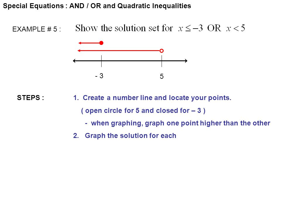 Special Equations : AND / OR and Quadratic Inequalities EXAMPLE # 5 : STEPS :1. Create a number line and locate your points. ( open circle for 5 and c