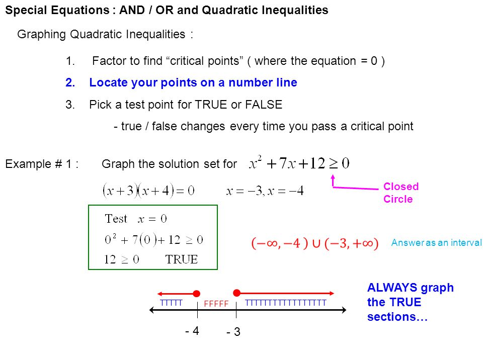 """Special Equations : AND / OR and Quadratic Inequalities Graphing Quadratic Inequalities : 1. Factor to find """"critical points"""" ( where the equation = 0"""