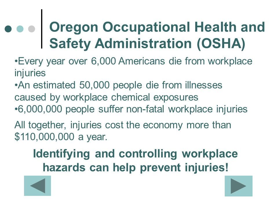 Oregon Occupational Health and Safety Administration (OSHA) Every year over 6,000 Americans die from workplace injuries An estimated 50,000 people die
