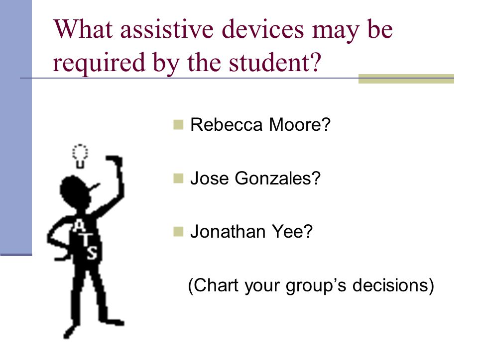 What assistive devices may be required by the student.