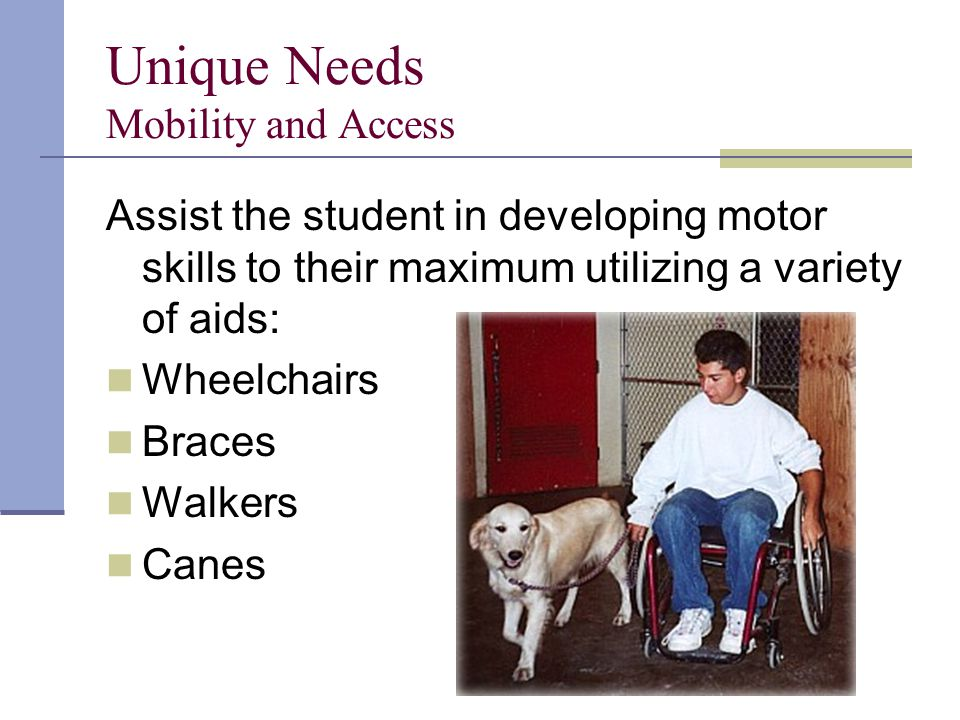 Unique Needs Mobility and Access Assist the student in developing motor skills to their maximum utilizing a variety of aids: Wheelchairs Braces Walkers Canes