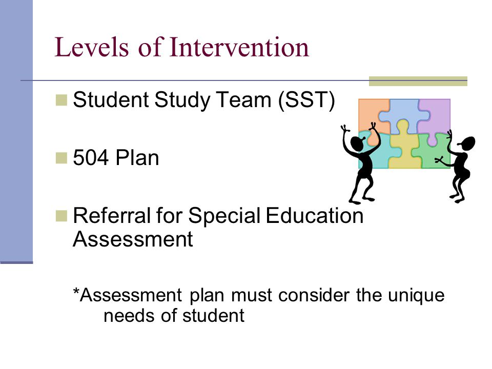 Levels of Intervention Student Study Team (SST) 504 Plan Referral for Special Education Assessment *Assessment plan must consider the unique needs of student