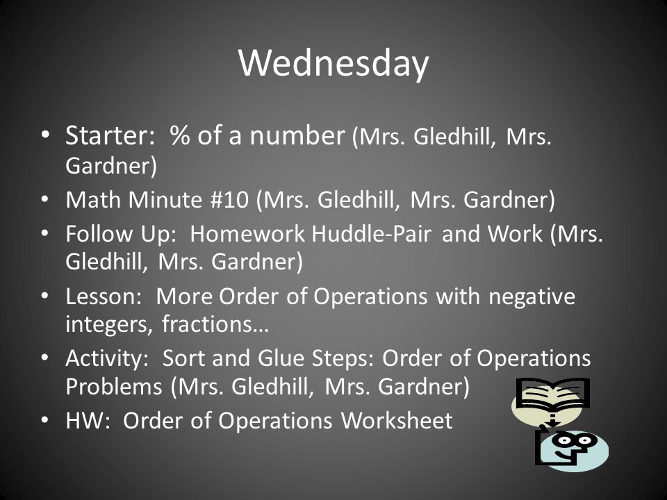 Wednesday Starter: % of a number (Mrs. Gledhill, Mrs. Gardner) Math Minute #10 (Mrs. Gledhill, Mrs. Gardner) Follow Up: Homework Huddle-Pair and Work