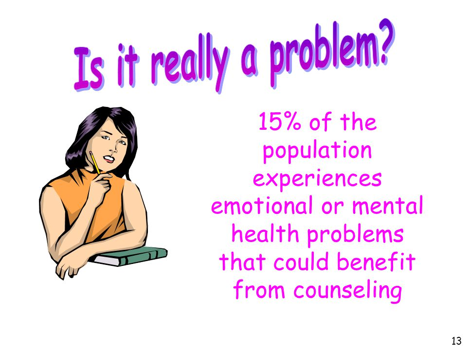 15% of the population experiences emotional or mental health problems that could benefit from counseling 13