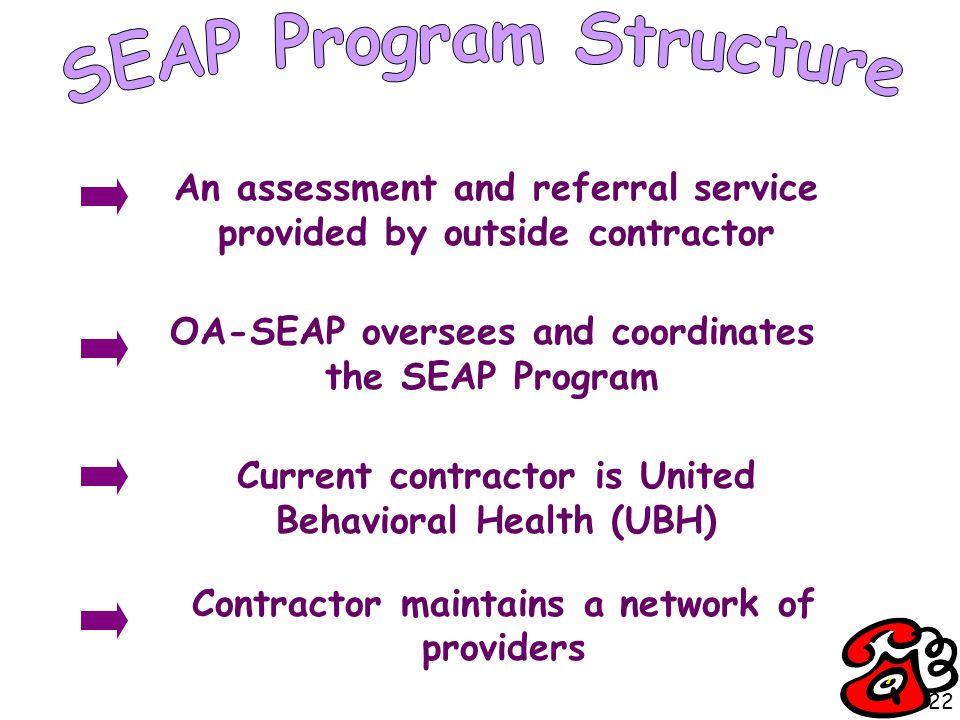 An assessment and referral service provided by outside contractor OA-SEAP oversees and coordinates the SEAP Program Contractor maintains a network of providers Current contractor is United Behavioral Health (UBH) 22