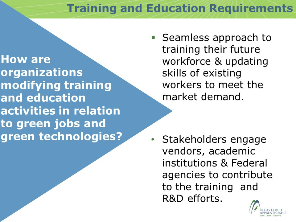 How are organizations modifying training and education activities in relation to green jobs and green technologies.