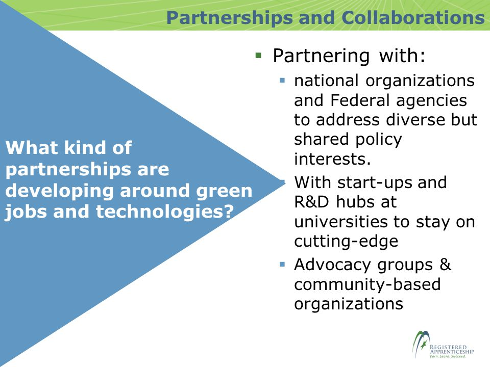 What kind of partnerships are developing around green jobs and technologies.