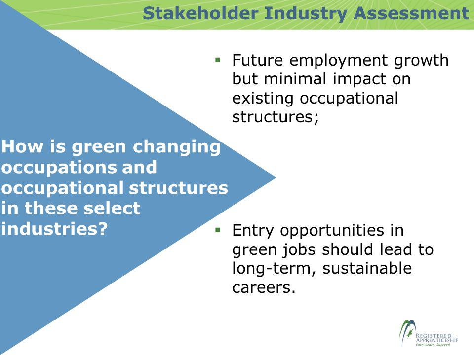 How is green changing occupations and occupational structures in these select industries.