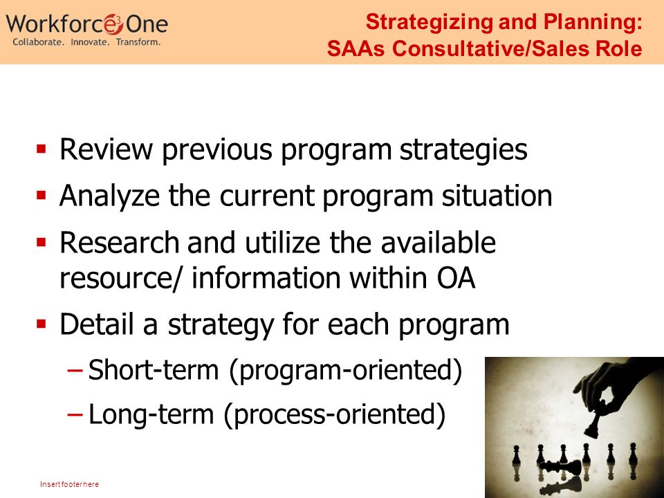 18 Insert footer here Strategizing and Planning: SAAs Consultative/Sales Role  Review previous program strategies  Analyze the current program situation  Research and utilize the available resource/ information within OA  Detail a strategy for each program –Short-term (program-oriented) –Long-term (process-oriented)