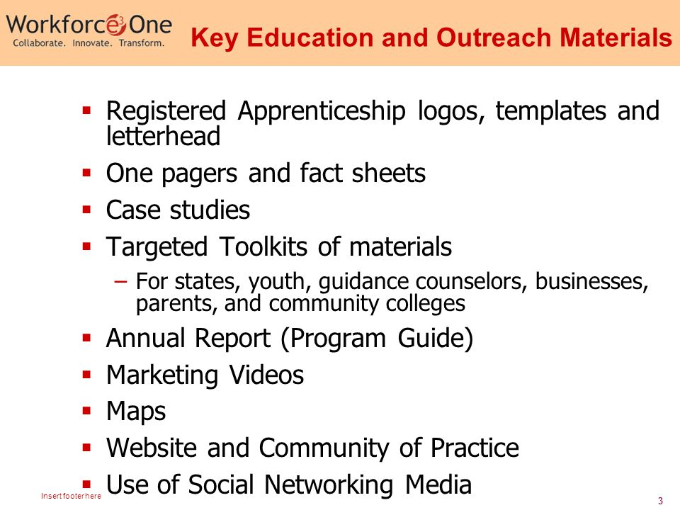 3 Insert footer here Key Education and Outreach Materials  Registered Apprenticeship logos, templates and letterhead  One pagers and fact sheets  Case studies  Targeted Toolkits of materials –For states, youth, guidance counselors, businesses, parents, and community colleges  Annual Report (Program Guide)  Marketing Videos  Maps  Website and Community of Practice  Use of Social Networking Media