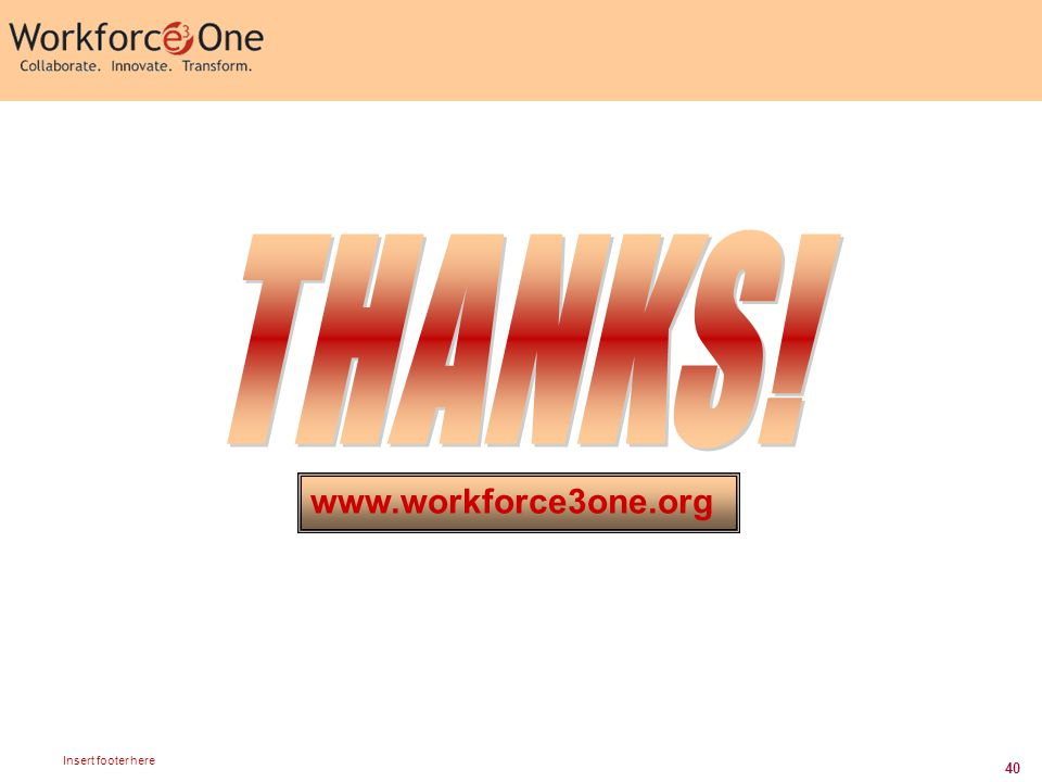40 Insert footer here www.workforce3one.org