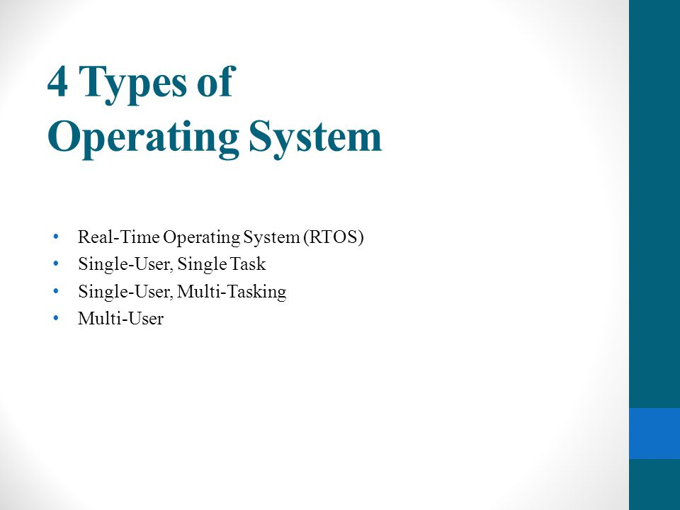 Real time Operating System (RTOS) Used to run computers embedded in machinery, robots, scientific instruments and industrial systems.