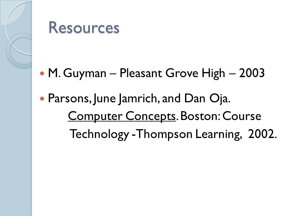 Resources M. Guyman – Pleasant Grove High – 2003 Parsons, June Jamrich, and Dan Oja.